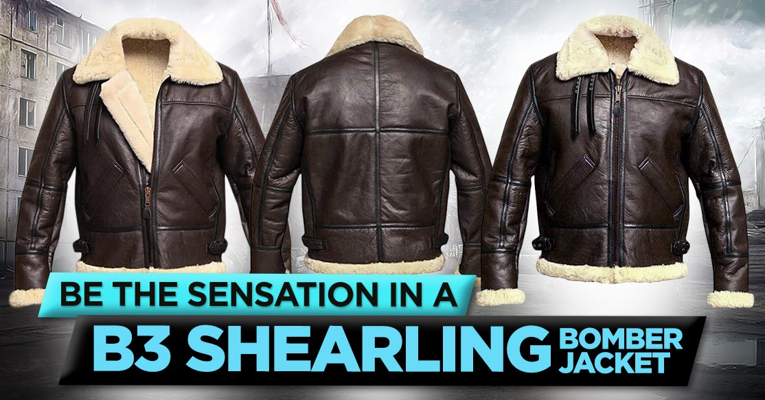 Be the sensation in a b3 shearling bomber jacket!