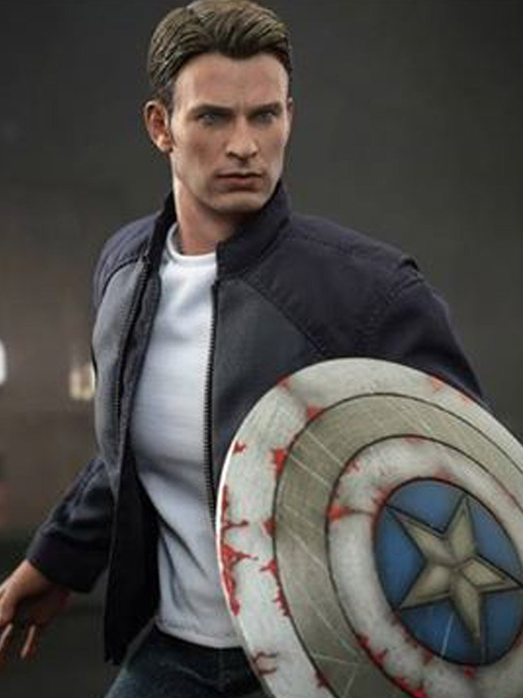 Captain America Jacket Blue Steve Rogers Leather Jacket