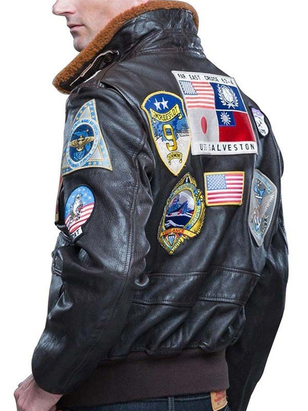Brown Shearling Top Gun Leather Jacket