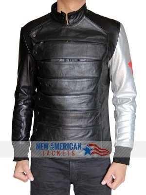 Bucky Leather Jacket Silver Armor