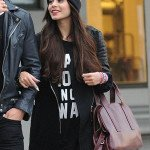 Leather Sleeve Vanessa Hudgens Coat