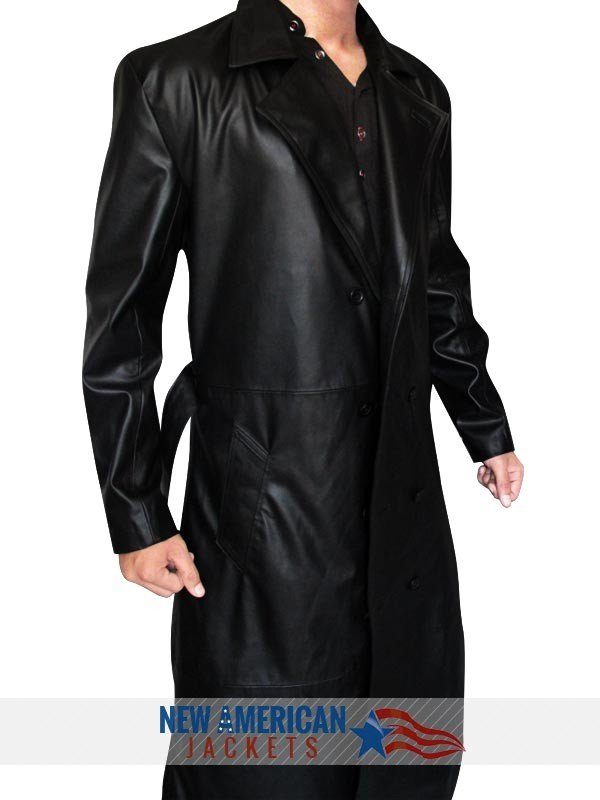 The Vampire Slayer Spike Trench Leather Coat