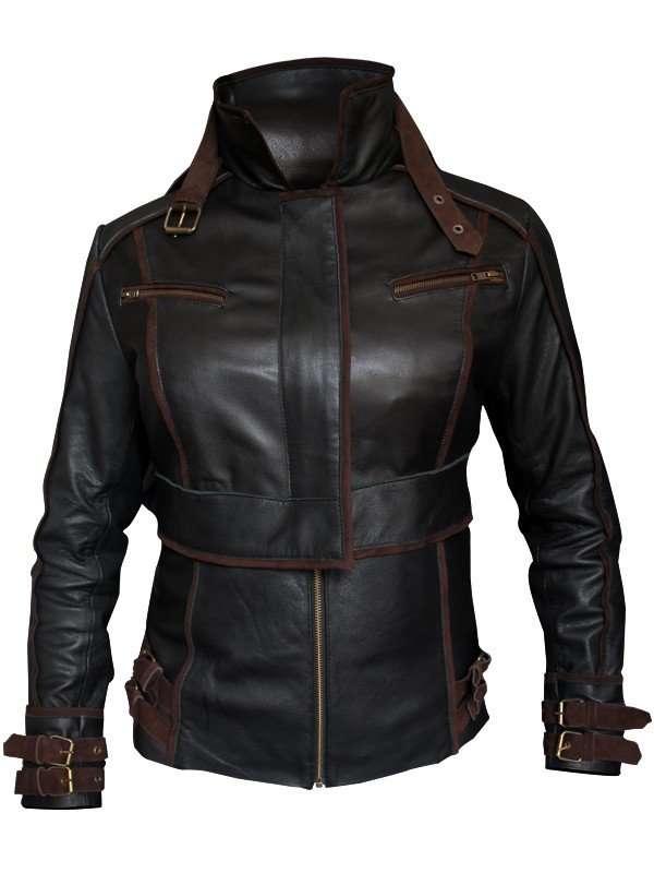 black Jessica Biel Melina Total Recall Jacket