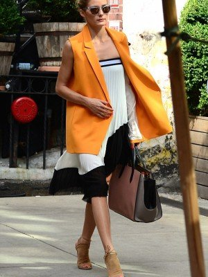 Olivia Palermo Yellow Cotton Coat