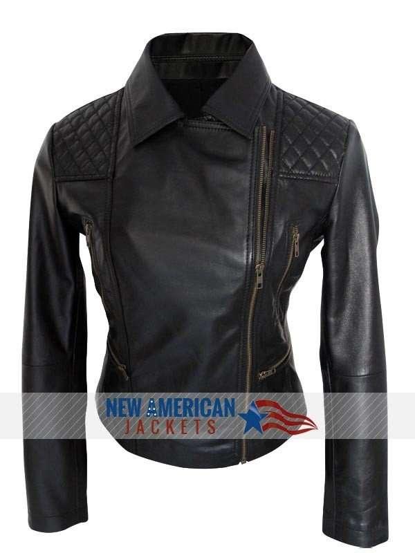black Gotham Camren Bicondova leather Jacket