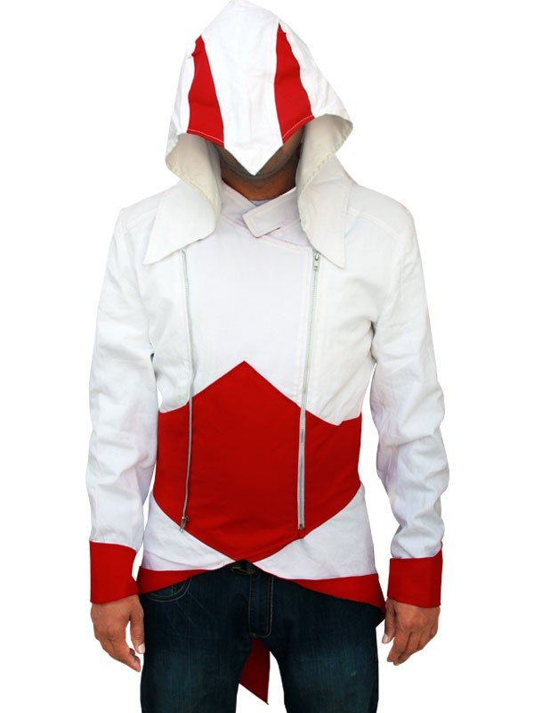 white and red Assassins Creed Jacket