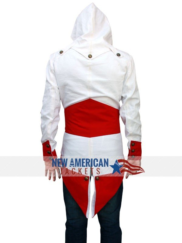 white and red fabric Connor Kenway Jacket