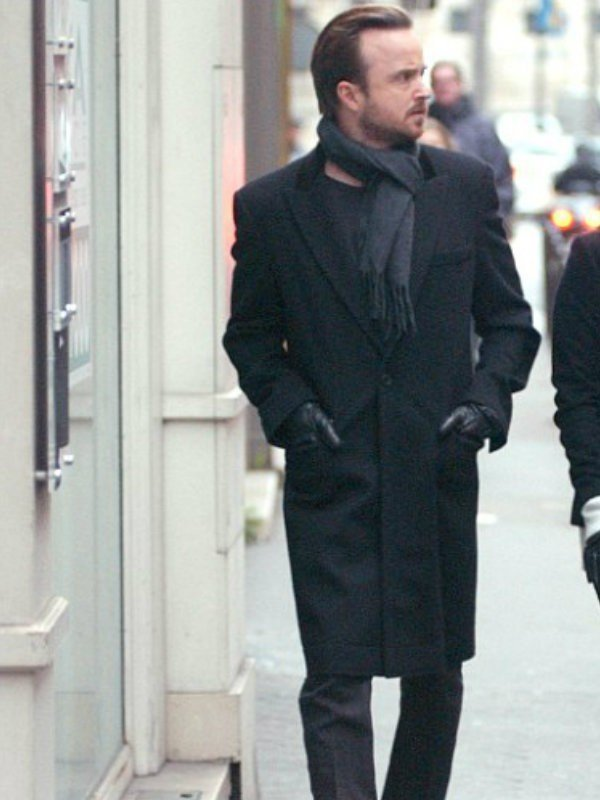 Paris Lauren Parsekian with Aaron Paul Coat