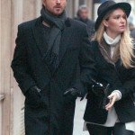 Paris Lauren Parsekian with Aaron Paul wool Coat