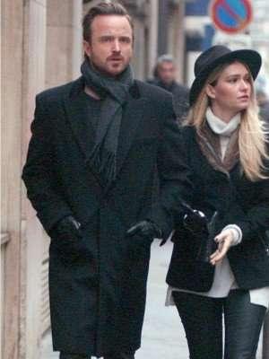 Paris Lauren Parsekian with Aaron Paul wool Coat