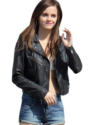 Womens Vintage Biker Emma Watson Leather Jacket
