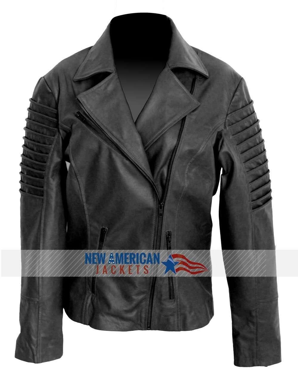 76f6ecd3c Black Slim Fit Women Genuine Real Leather Biker vintage Jacket