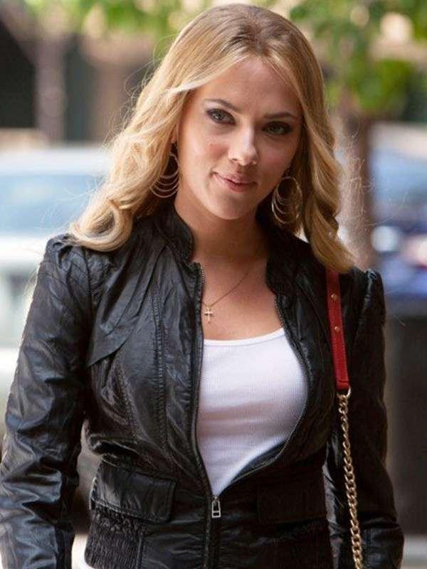 Scarlett Johansson Black Leather Jacket