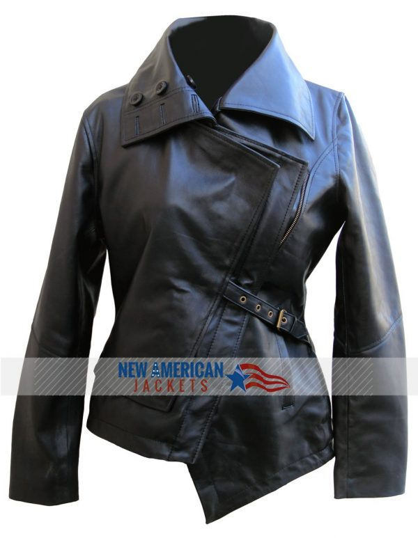 Black The Hunger Games Catching Fire Leather Jacket