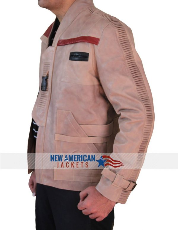 Star Wars  The Force Awakens Finn Beige Leather Jacket
