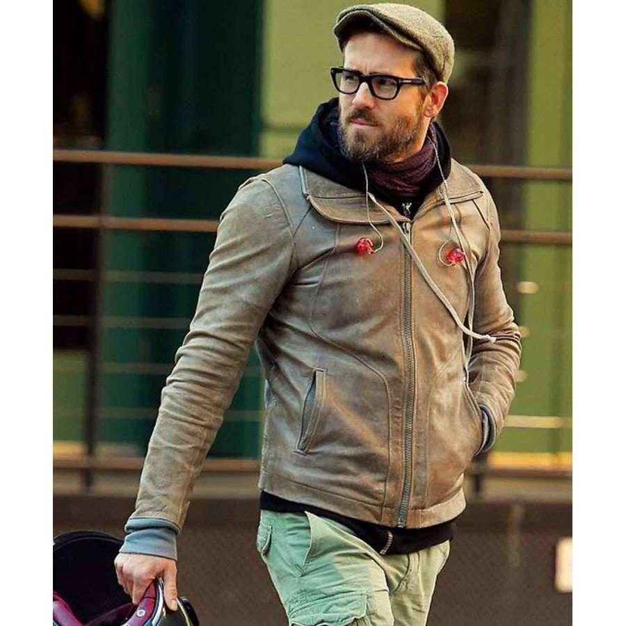 Ryan Reynolds Brown Biker Leather Jacket New American