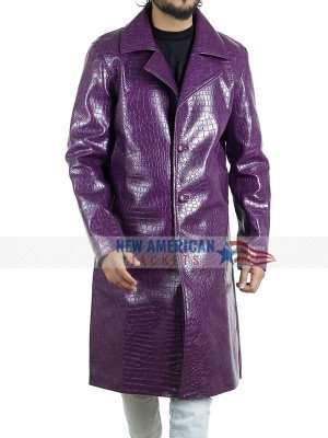 Suicide Squad Joker Purple Leather Coat
