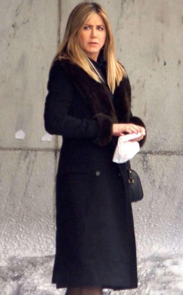 Office Christmas Party Jennifer Aniston Wool Coat
