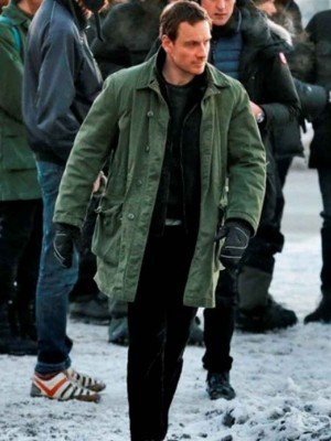 The Snowman Michael Fassbender Coat in Green Color