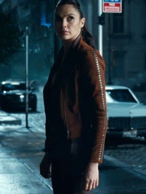 Justice League Gal Gadot Brown Jacket