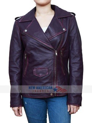 Daphne Kluger Purple Leather Jacket