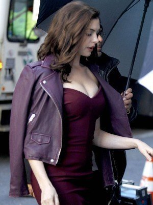 Anne Hathaway oceans eight purple leather jacket