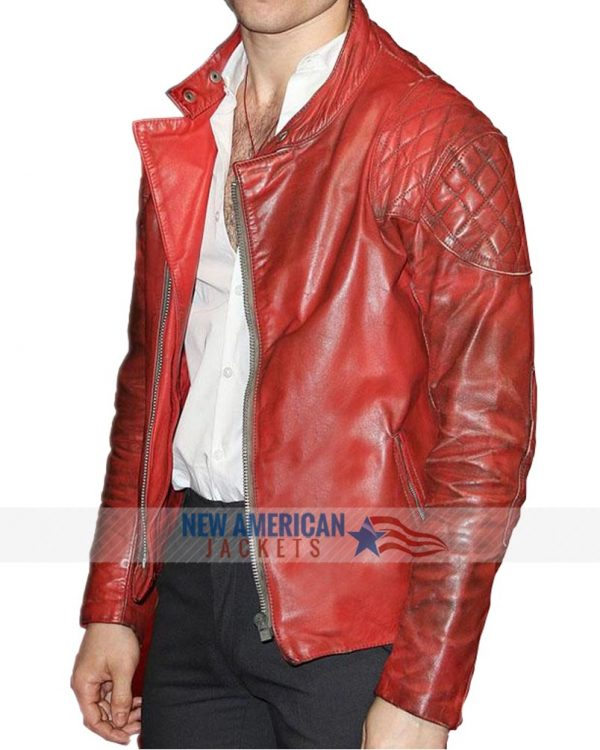 premiere show ezra millar red leather jacket