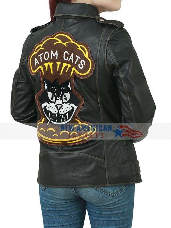 Black Atom Cats Women Biker Jacket