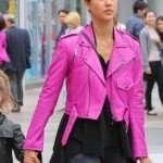 Jessica-Alba-Hot-Pink-Biker-Jacket
