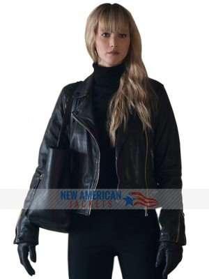 Dominika Egorova Red Sparrow Black Jacket