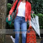 A Rainy Day In New York Selena Gomez red Satin Jacket