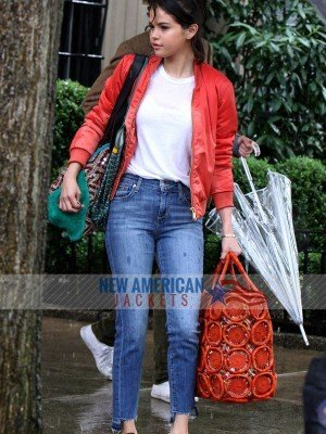 A Rainy Day In New York Selena Gomez Red Jacket