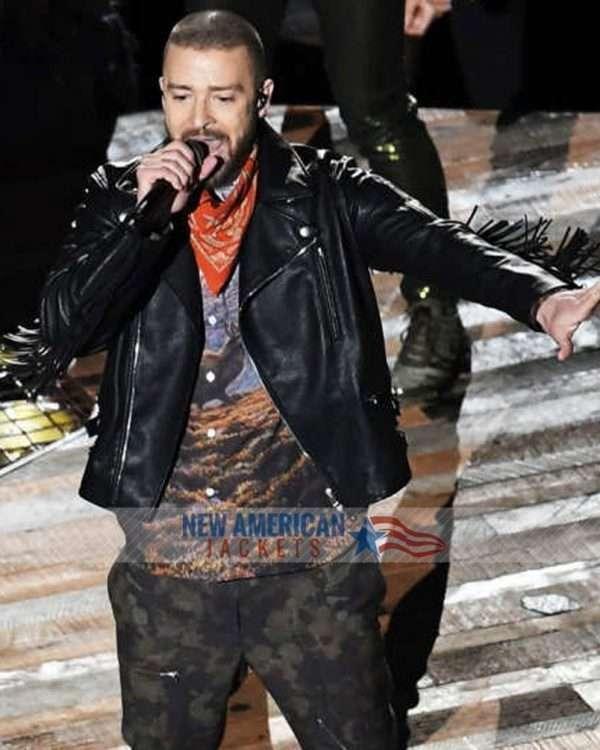 Super Bowl Justin Timberlake Fringe Leather Jacket