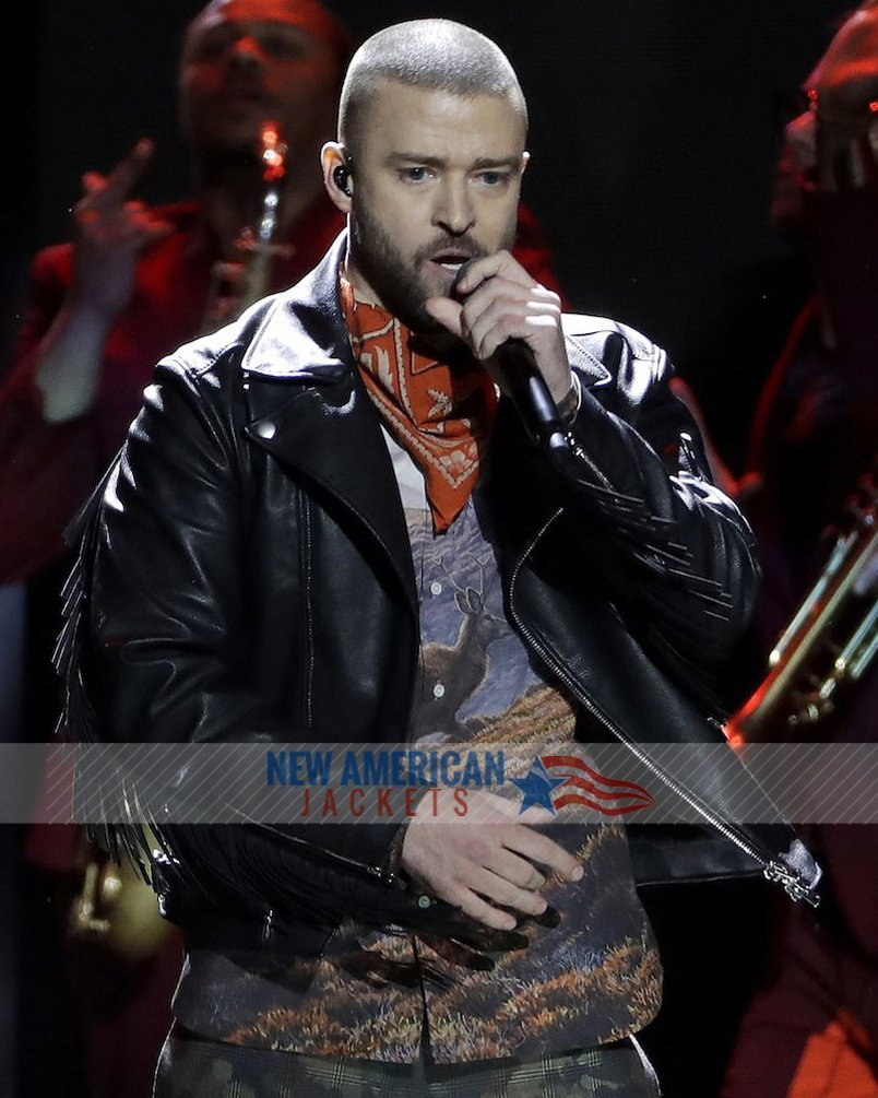 low priced 3fe43 4f1cd Super Bowl LII halftime Show Justin Timberlake Leather Jacket