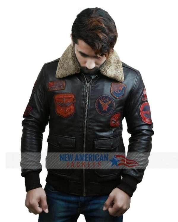 Top Gun Bomber Brown Flight Leather Jacket