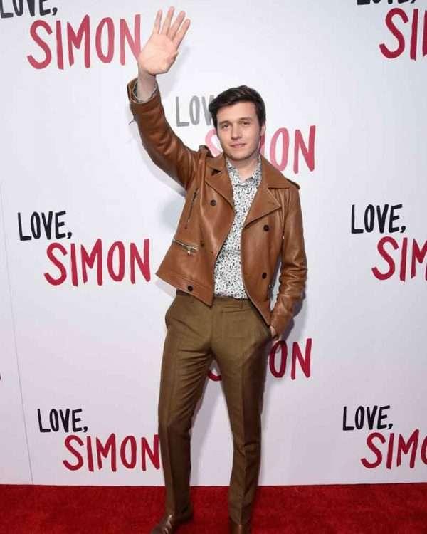 Love Simon Nick Robinson Brown Leather Jacket