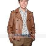 Love Simon Nick Robinson Premiere Brown Leather Jacket