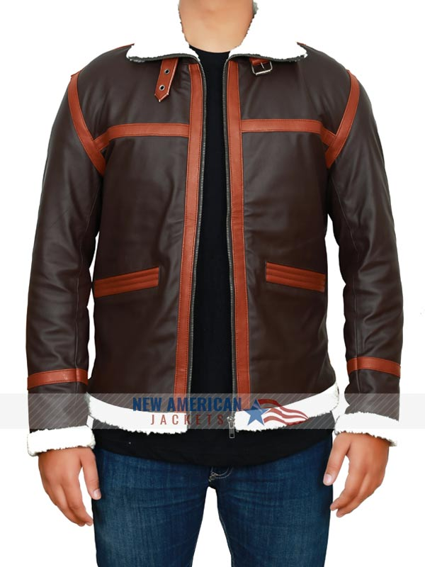 Resident Evil 4 Leon Kennedy Shearling Brown Leather Jacket