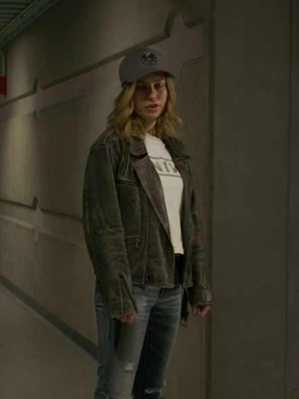 Brie Larson Captain Marvel Distressed Leather Jacket