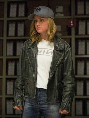 Captain Marvel Brie Larson Distressed Leather Jacket