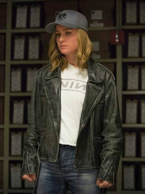 Brie larson Distressed Leather Jacket
