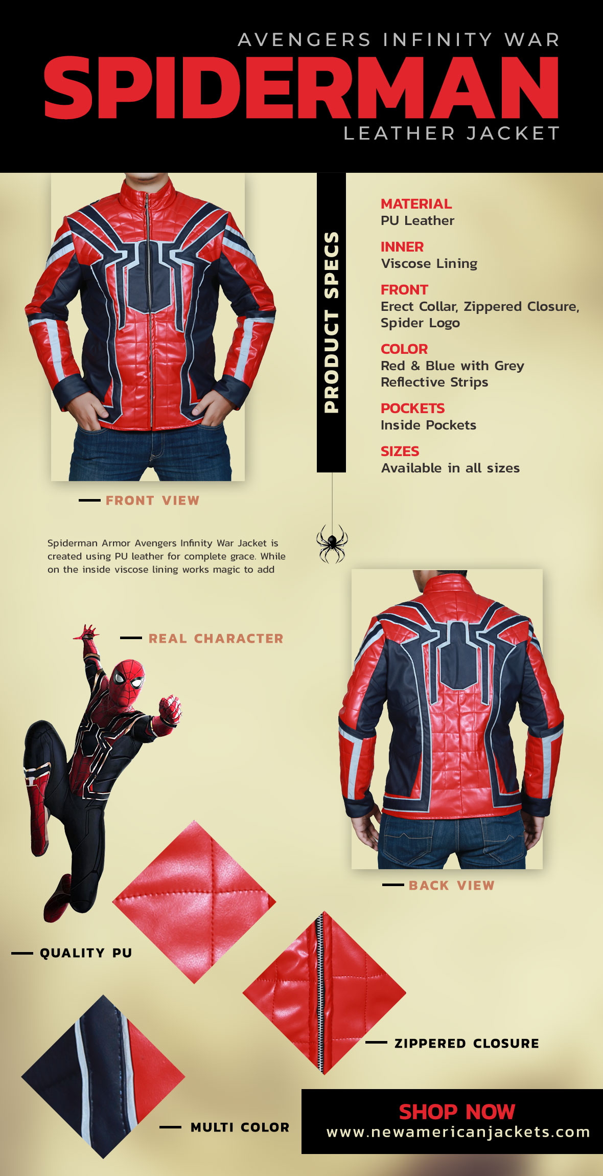Spiderman Armor Avengers Infinity War Jacket Infographic