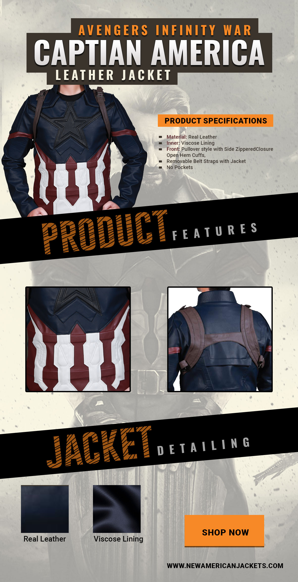 Avengers Infinity War Captain America Leather Jacket Infographic