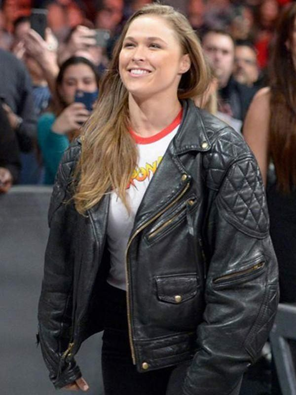 Black Leather Biker Ronda Rousey Jacket