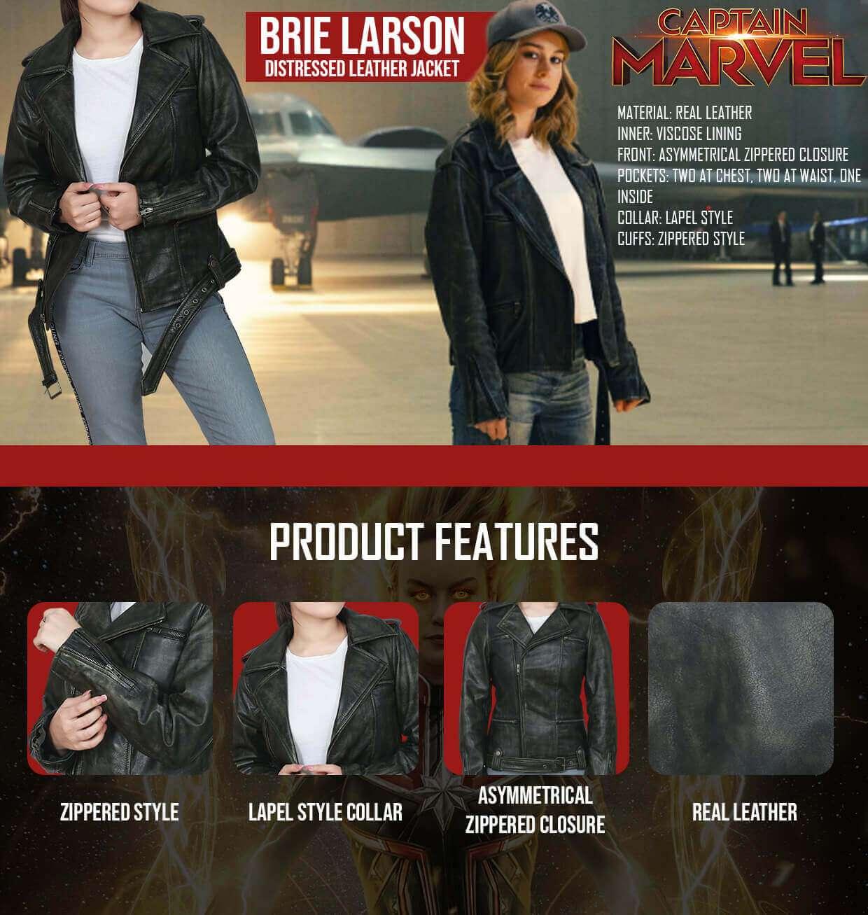 Brie Larson Distressed Black Jacket