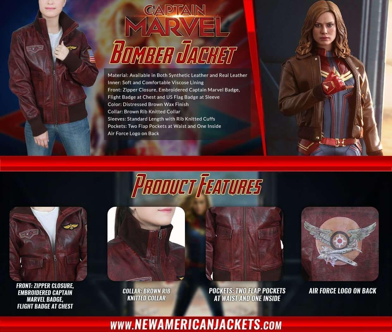 Brie Larson Captain Marvel Flight Bomber Jacket for Womens