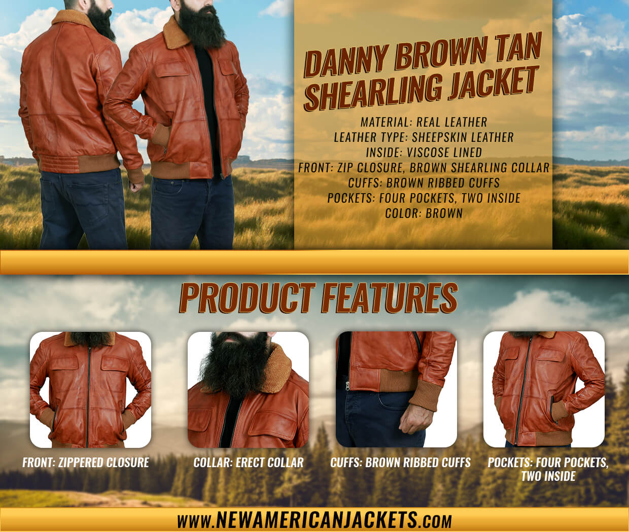 Danny Brown Tan Shearling Leather Jacket