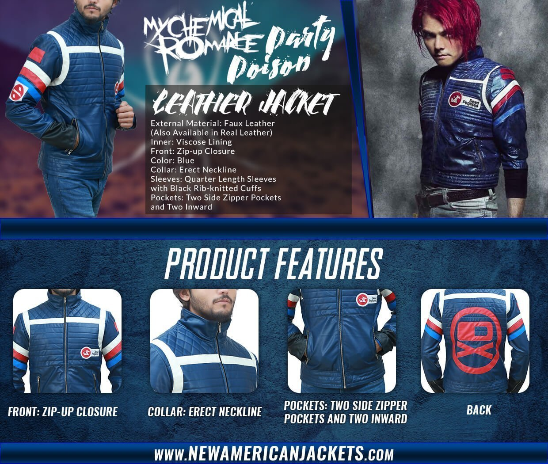 Gerrard Way My Chemical Romance Blue Leather Jacket