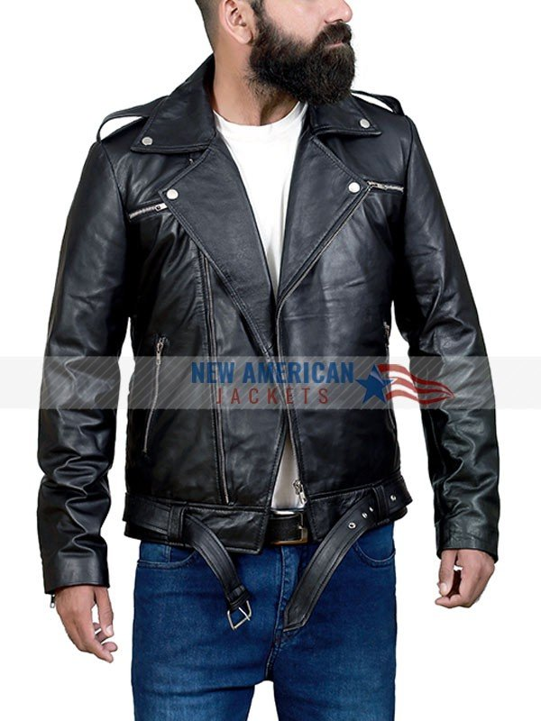 Negan Motorcycle Black Leather Jacket