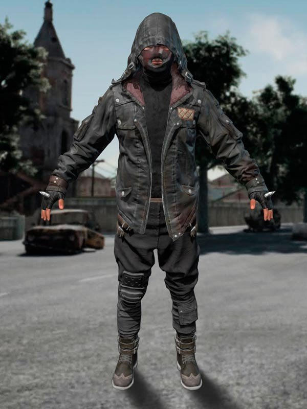 Pubg Black Leather Hooded Jacket